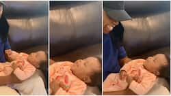 Adorable video as Davido's billionaire father gushes over granddaughter after meeting her for the first time