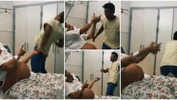Man twerks for pregnant lady in hospital as she 'shoots' him with her hands in cute video, many gush