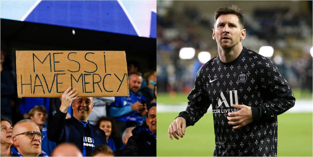 Club Brugge fans send emotional message to Messi before Champions League game against PSG