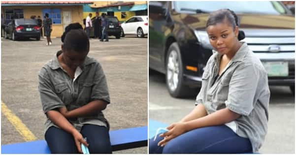 Chidinma when she was paraded by the police in Lagos