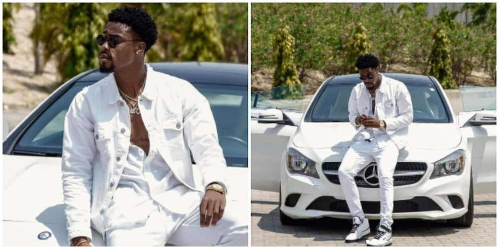 Photos of Neo Akpofure and his car.
