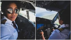 Female pilot receives much love as she poses during flight in aeroplane's cockpit, see what people said (photos)