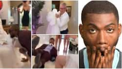 Father-in-law wears daughter's wedding gown to prank her blindfolded husband, viral video causes huge stir