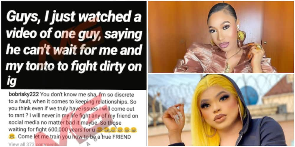 Bobrisky reacts to reports of strained relationship with bestie, Tonto Dikeh