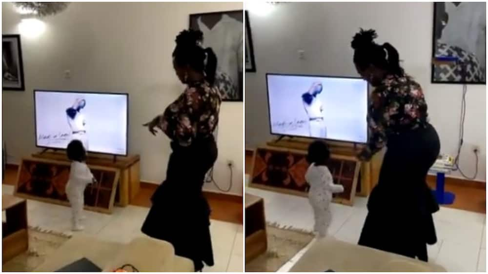 Cute moment grandma and granddaughter dance in front of TV to Wizkid's Ginger song