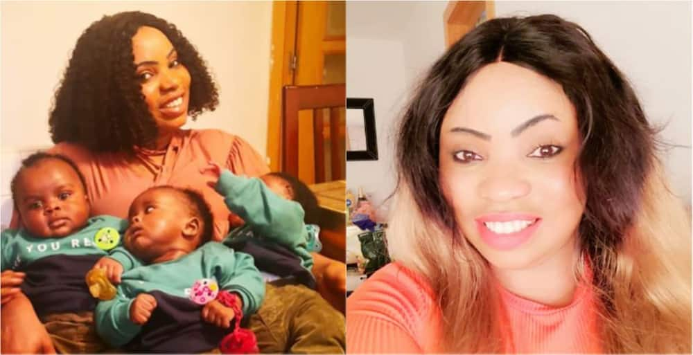 Beautiful woman poses with her adorable triplets in photos; stirs powerful reactions