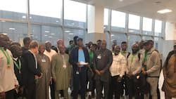 Stunning video of Super Eagles stars arriving Cape Verde emerges as top official sends big message to Nigerians