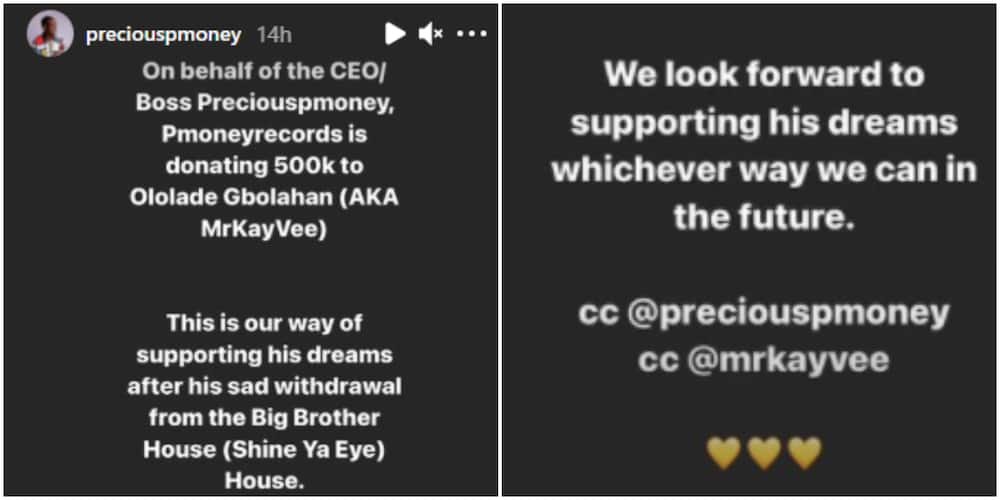 Kayvee is out of BBNaija show