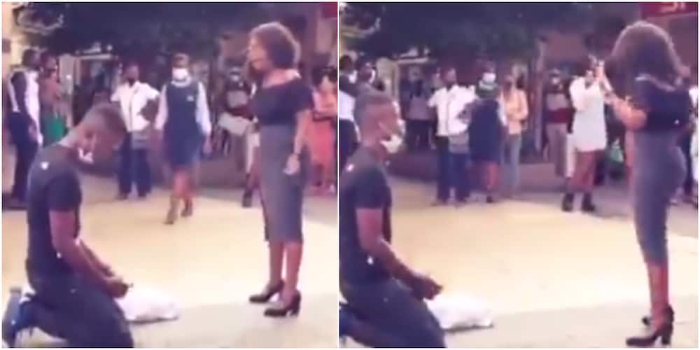 Massive Reactions as Video Shows Lady Rejecting Her Man's Public Marriage Proposal