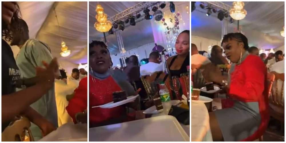 Reactions as Nigerian actress Empress Njamah is spotted in video asking for extra food at wedding