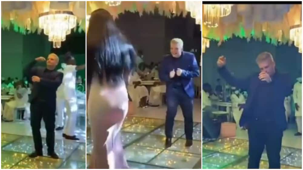 Nigerians wowed as white man dances at a wedding reception, videos goes viral