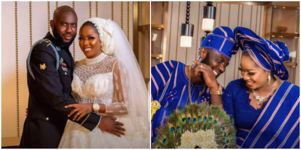 Reactions as actress Olayinka Solomon 'grinds' hubby at wedding reception