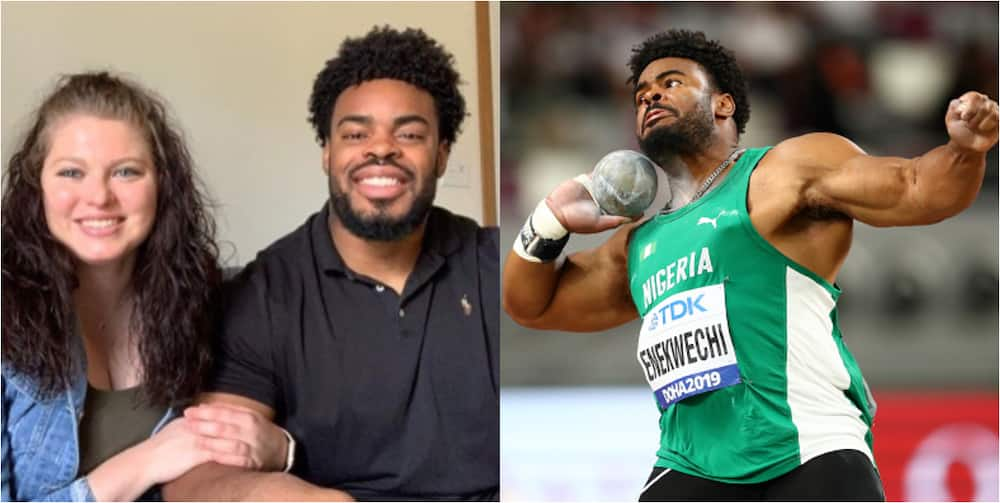 Olympic shot put thrower's sister reacts after someone dragged her brother for not marrying a Nigerian