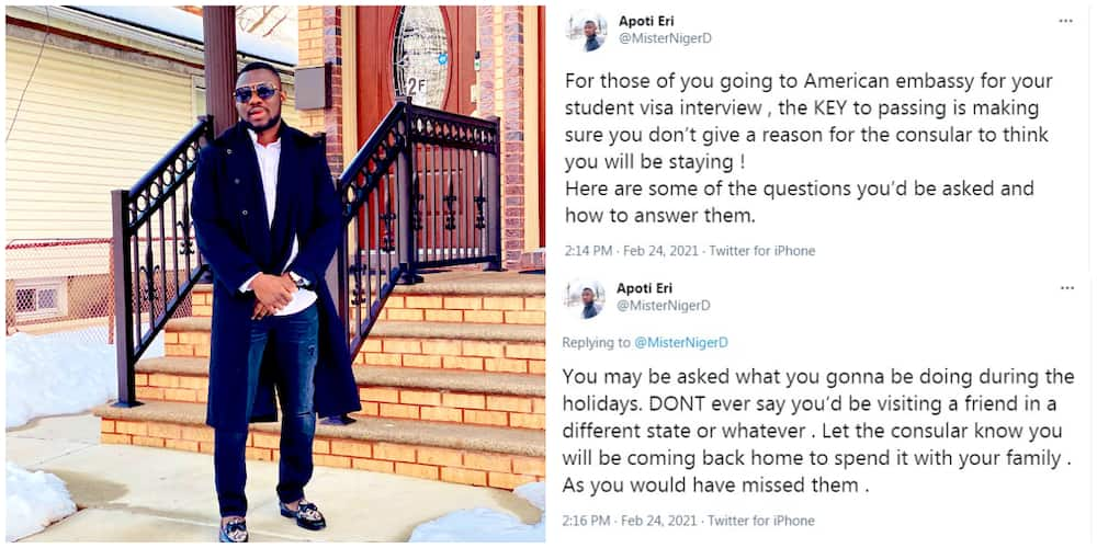 Don't say you'd be trying to get a job abroad: Nigerian man in the US reveals top ways to pass visa interview