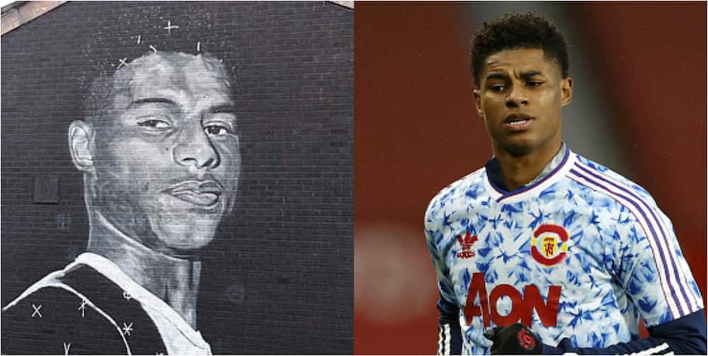Marcus Rashford immortalized in Manchester with painting of his face on wall