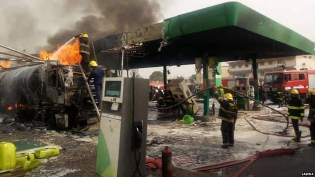 Petrol station gutted by fire, another building collapses in Lagos