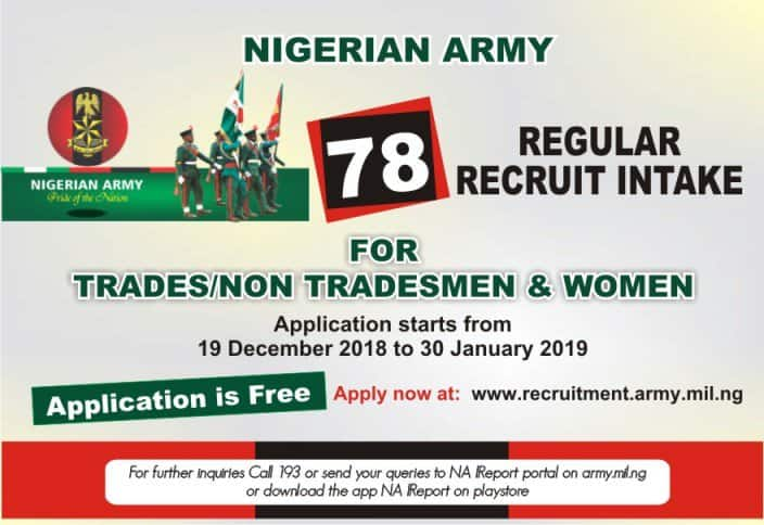Just in: Nigerian Army announces recruitment exercise, gives