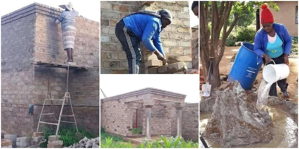 Photos of Woman Mixing Cement and Climbing a Ladder to Plaster a Building Cause Huge Stir, Many Celebrate Her