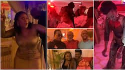 Action-packed: A-list celebs 'scatter' dance floor as they storm Kate Henshaw's grand birthday party