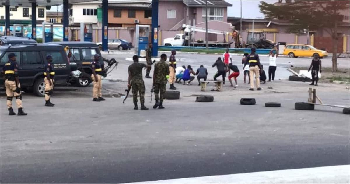 Soldiers punish violators