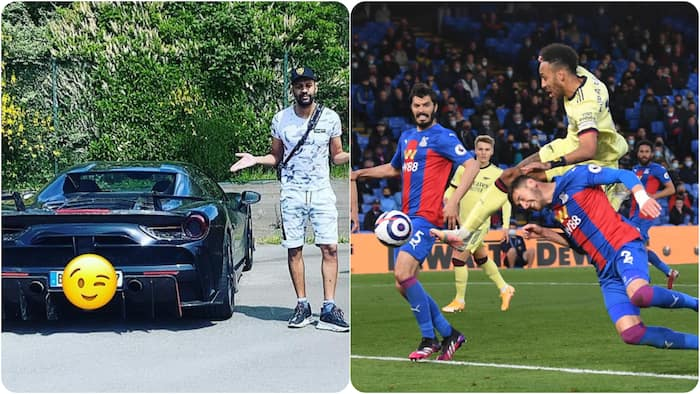 Arsenal big-boy Aubameyang drives round French city in N143m worth Ferrari before giving it to brother