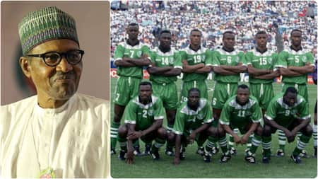 Jubilation as president Buhari finally gives Super Eagles class of '94 stars their houses after 27 years