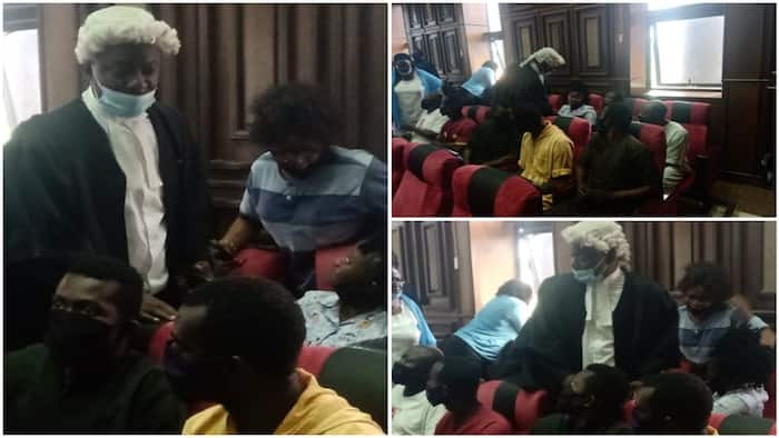 Photos emerge as DSS finally produces Sunday Igboho's aides in court, lawyer makes another demand