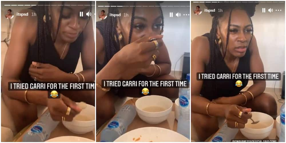 BBNaija Mike's Wife Perri Spotted Drinking Garri for the First Time in Viral Video, Claims It Is Tasteless