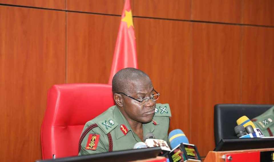 COAS Farouk Yahaya giving a press briefing