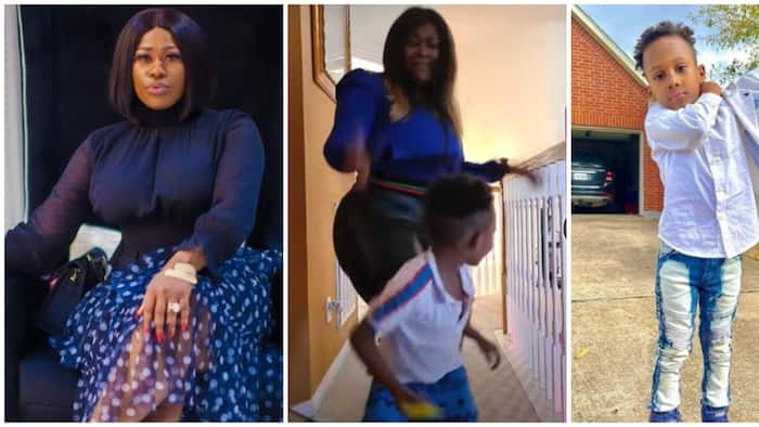 Nollywood actress Uche Jombo and son Matthew show off dance moves in new video