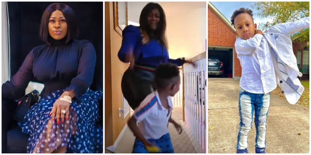 Actress Uche Jombo shows off dancing moves with son in new video