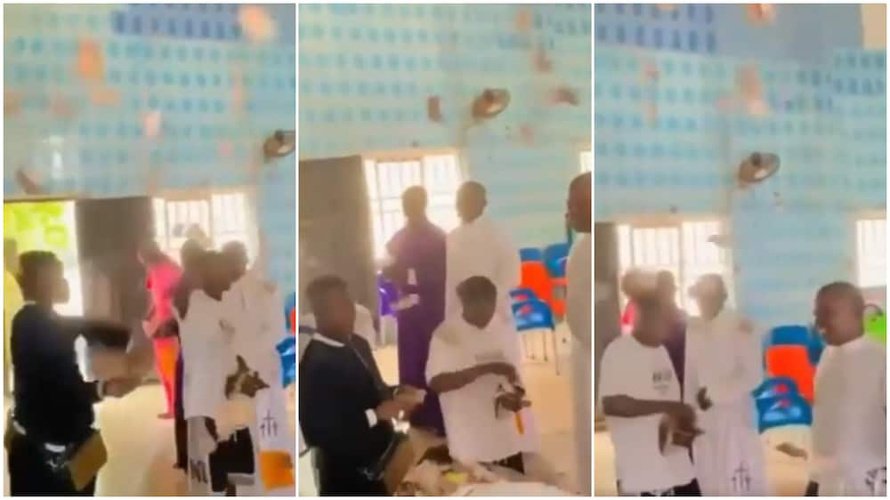 Young men spray money on pastors in church, dishes new notes into offering basket, video goes viral