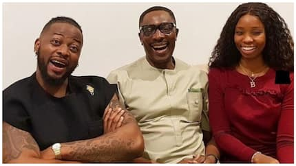 Fans insinuate marriage counselling as Bambam and Teddy A meet popular Lagos pastor Tony Rapu