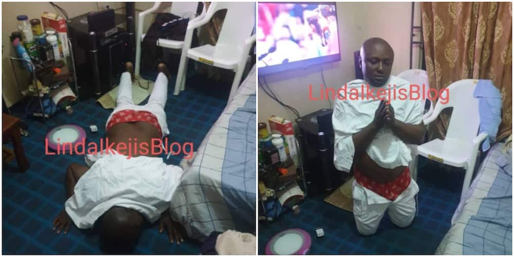 Isreal DMW pictured prostrating, kneeling to beg DJ Cuppy