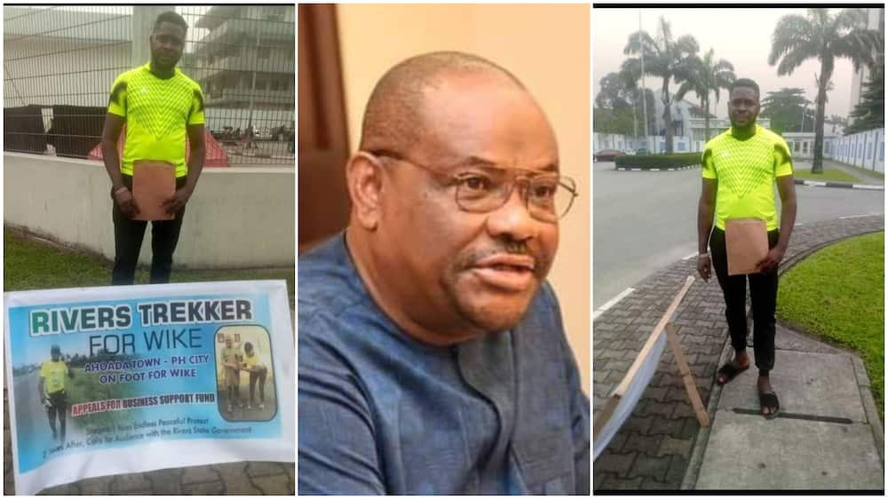 After Wike Gave Burna Boy Land, Young Man who Trekked for Gov Begs for Money to Start Business