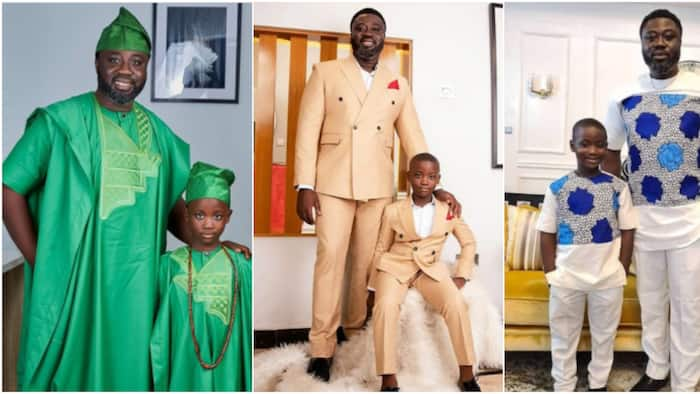 Mercy Johnson's husband Prince Okojie inspires lovely father and son fashion goals with 5 photos