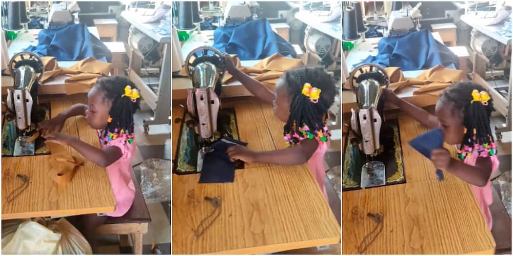 Little Nigerian girl displays tailoring skills as she operates machine like a pro in cute video, many hail her