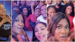 Where is Toyin Abraham? Fans query Mercy Johnson as she hits the cinema to watch new movie with them