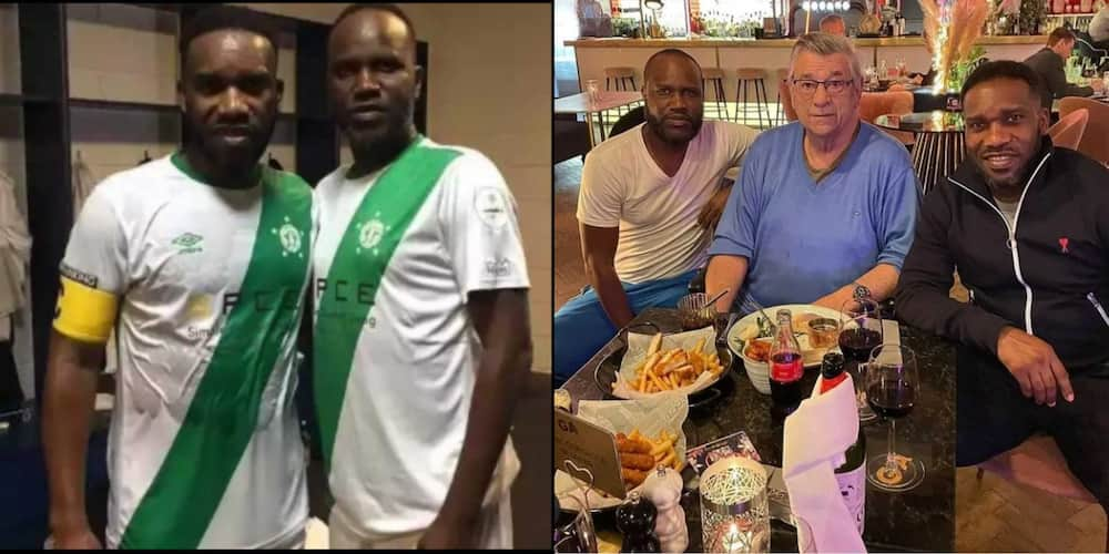 Rare Photo of Okocha And His Lookalike Brother Emerges As They Reunite With Westerhof in London