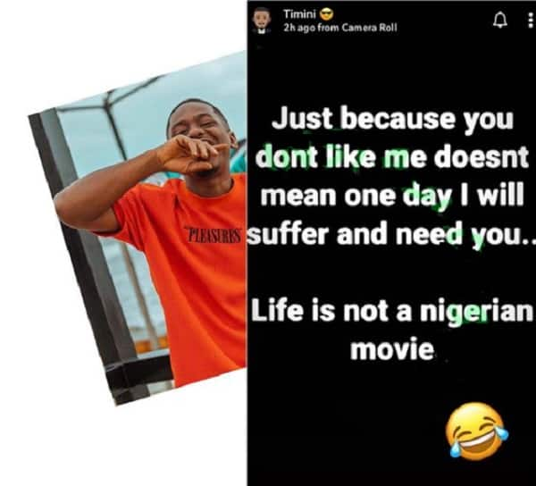 Just because you don't like me doesn't me I'll suffer and need you, Timini Egbuson to his haters