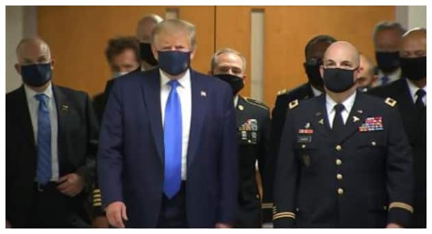 Coronavirus: President Trump wears face mask in public for first time