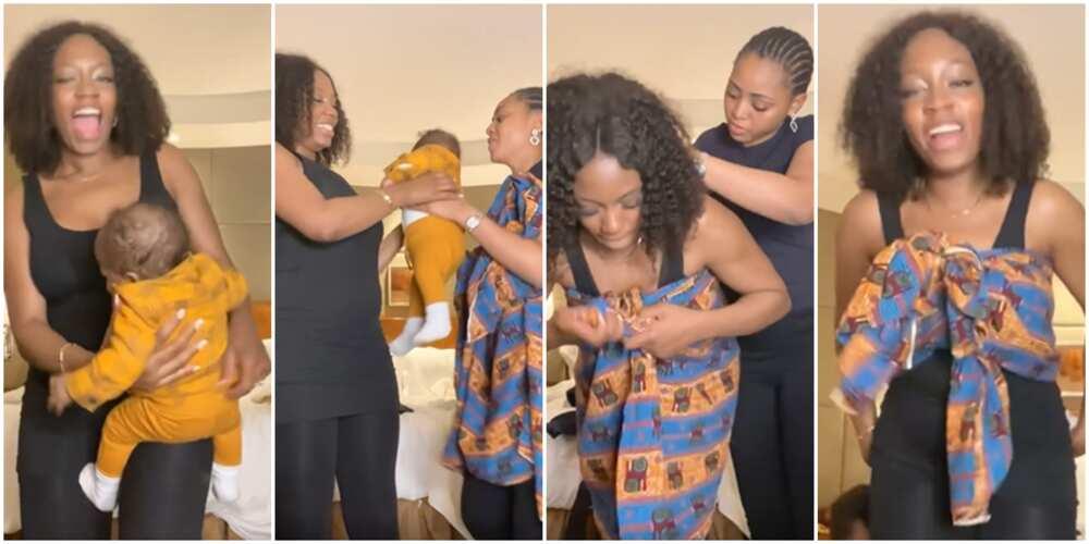 Regina Daniels teaches Khafi to back a baby