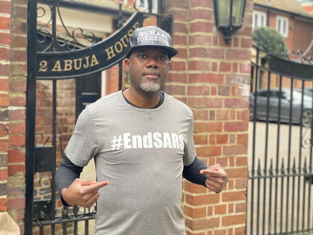 Video Shows Reno Omokri Leading Anti-Buhari Protest in Abuja House, London