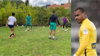 Super Eagles legend enjoys quality family time as he shares video of him playing football with wife and kids