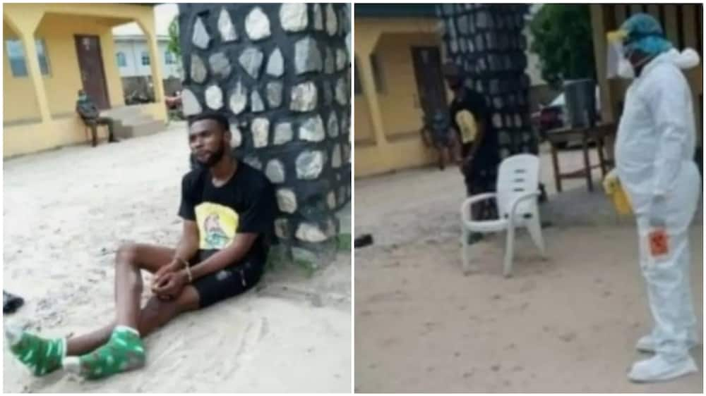 A collage showing the picture of the Nigerian lover and a health officer in the area. Photo source: SaharaReporters