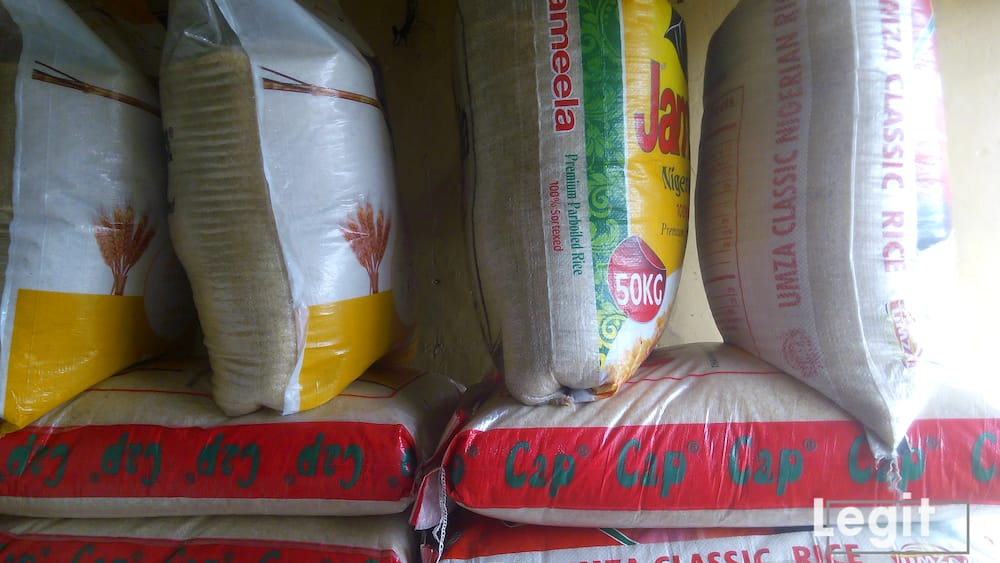 Bags of Local rice are offered for sale at affordable rates, traders informed. Photo credit: Esther Odili