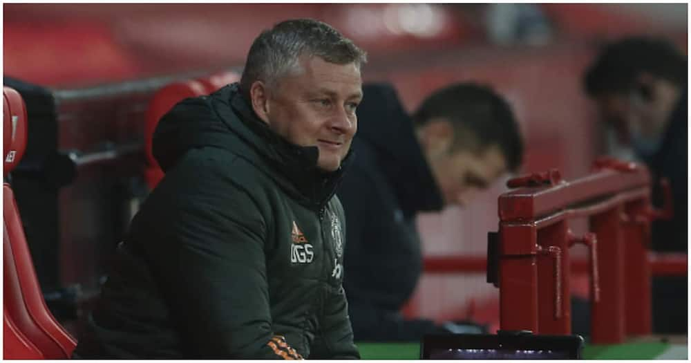 Solskjaer looks on during a Premier League match at Old Trafford. Photo: Getty Images.