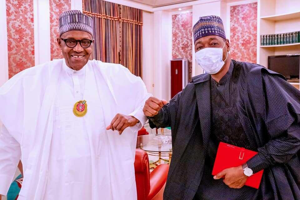 President Buhari meets Borno governor at State House