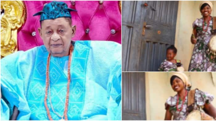 Woman and her little girl drum dexterously for Alaafin of Oyo's 83rd birthday, sweet sounds warm hearts