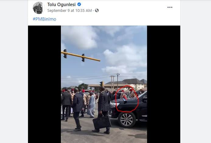 Fact Check: Is It True Biafra Flag Was Hoisted on President Buhari's Car During Imo Visit?
